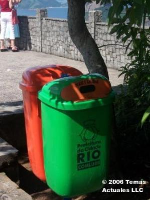 Comlurb bins at a lookout spot