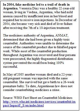 A Counterfeit Medicine Case in Argentina