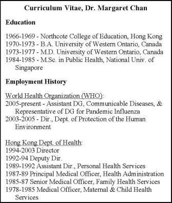 CV of Dr. Margaret Chan