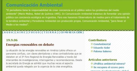 Comunicacion Ambiental blog article on renewable energy