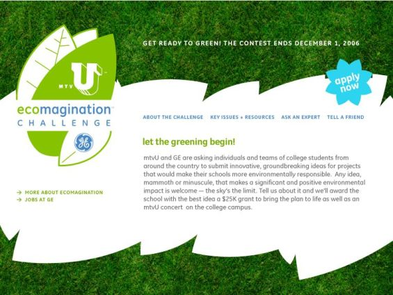 Screenshot of the Website for the Eco-Imagination Contest