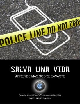 cartel en español sobre residuos electrónicos