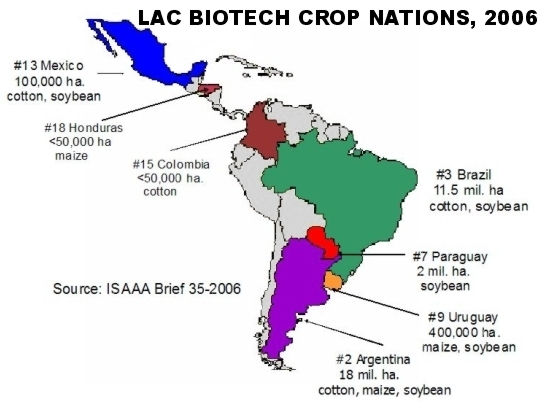 Genetically Engineered Crops in LAC Nations, 2006