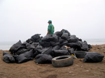Tires Collected on Peruvian Beaches