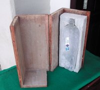 mold with cutaway brick showing position of PET bottle within