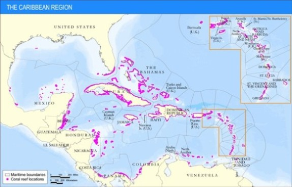 Where the Coral Reefs Are in the Caribbean Basin