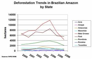 Deforestation Trends in Brazilian Amazon by State (click to enlarge)