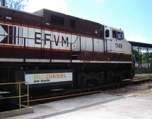 A CVRD locomotive run on biodiesel