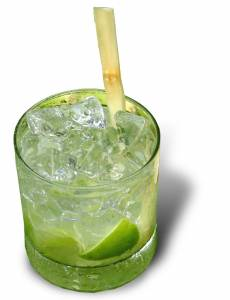 Studio photo of a caipirinha with a sugar cane swizzle stick taken December 2006 using a Cannon PowerShot S2 IS 5.0 camera. Created by David Catania