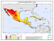 Map of Direct Solar Radiation in Mexico, Central America & Caribbean Islands (click to enlarge)