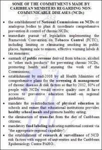 Commitments on Non-Communicable Diseases Made by Caribbean Leaders (click to enlarge)