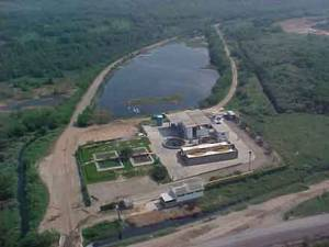 an aerial view from Comlurb of the leachate treatment station
