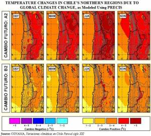 Predicted Temperature Shifts in Northern Chile due to Climate Change (click to enlarge)
