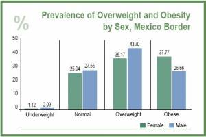 Prevalence of Overweight & Obesity Among Mexicans at the Border (click to enlarge)