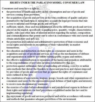 Consumer Rights Under Parlatino's Model Law (click to enlarge)