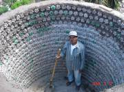 inside of a cistern made with PET bottles