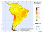 Global Horizontal Solar Radiation Map of South America (click to enlarge)