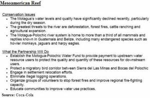 WWF-Coca-Cola Commitments regarding Mesoamerican Reef (click to enlarge)