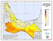 Map of Average Annual Direct Normal Solar Radiation for Southern Mexico