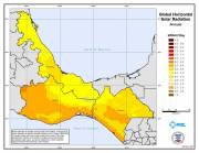 Map of Global Horizontal Solar Radiation in southern Mexico