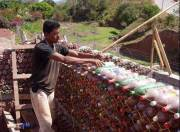 the wall of PET bottles of